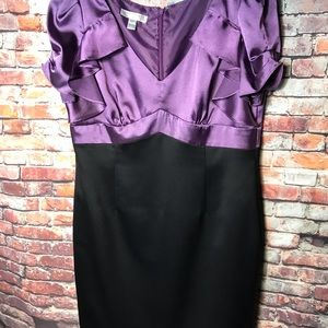 London Times Purple and Black Satin Dress D914